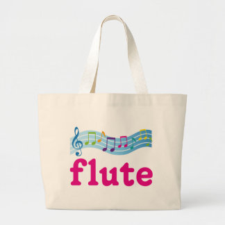 Colorful Music Staff Flute Design Gift Large Tote Bag