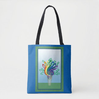 Colorful Music Symbols Bouquet Vase and Frame Tote Bag
