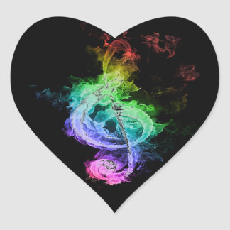 Colorful Musical Note Design Heart Sticker