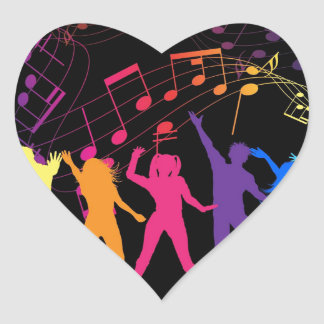 Colorful Musical Notes and Dancers Heart Sticker
