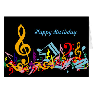 Colorful Musical Notes Happy Birthday Card