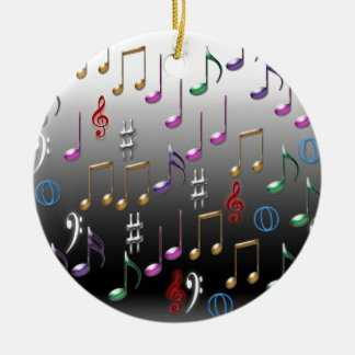 Colorful musical notes on grey background round ceramic decoration