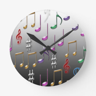 Colorful musical notes on grey background round clock