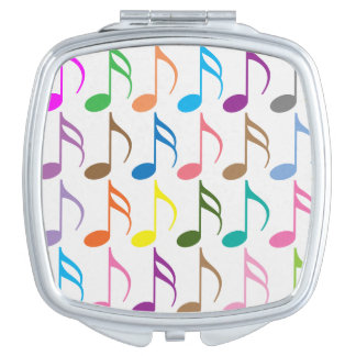 Colorful musical notes pattern travel mirrors
