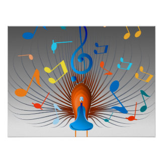 Colorful Musical Notes Peacock Poster