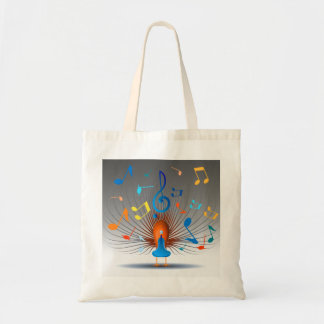 Colorful Musical Notes Peacock Tote Bag