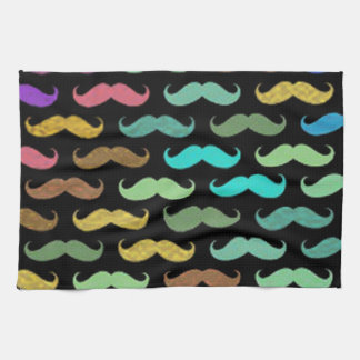 Colorful Mustaches Designs on Black Background Tea Towel