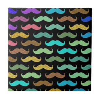 Colorful Mustaches Designs on Black Background Tile