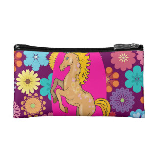 Colorful Mystical Unicorn on Pink Purple Flowers Cosmetics Bags