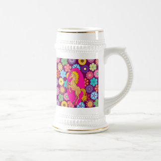 Colorful Mystical Unicorn on Pink Purple Flowers Beer Stein