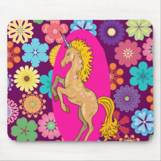 Colorful Mystical Unicorn on Pink Purple Flowers Mouse Pad