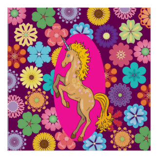 Colorful Mystical Unicorn on Pink Purple Flowers Poster