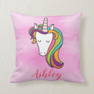 Colorful Mythical Unicorn Horn Pink Watercolor Cushion