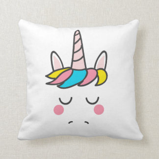 Colorful Mythical Unicorn Horse Pink Horn Magical Cushion