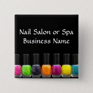 Colorful Nail Polish Bottles, Nail Salon 15 Cm Square Badge