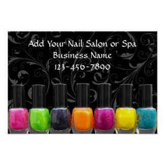 Colorful Nail Polish Bottles, Nail Salon Sign