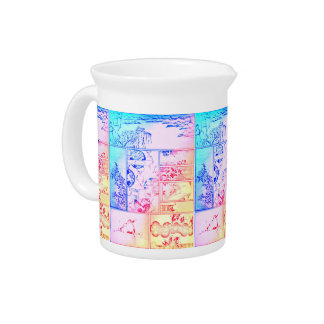 Colorful Nature Collage Asian Bird Flowers Squarei Pitcher