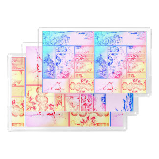 Colorful Nature Collage Asian Bird Flowers Squares Acrylic Tray