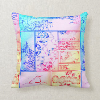 Colorful Nature Collage Asian Bird Flowers Squares Cushion