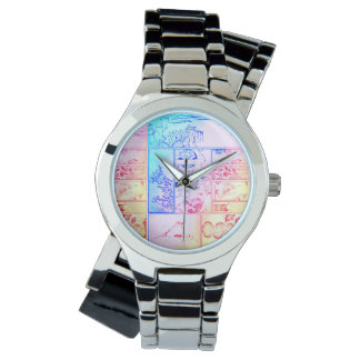 Colorful Nature Collage Asian Bird Flowers Squares Wristwatch