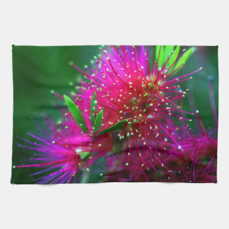 Colorful Nature Floral Hot Pink Neon Green Flowers Tea Towel