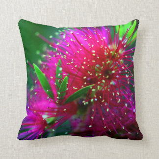 Colorful Nature Floral Hot Pink Neon Green Flowers Throw Pillow