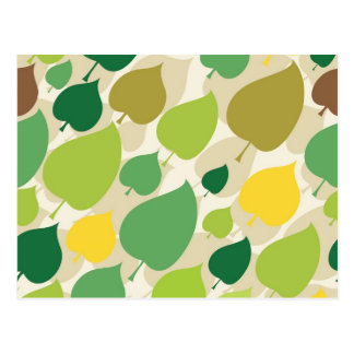 Colorful Nature Pattern Green Yellow Leaves Postcard