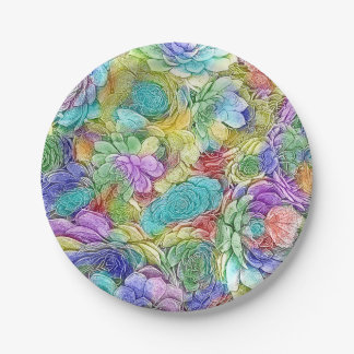 Colorful Nature Succulent Plants 7 Inch Paper Plate