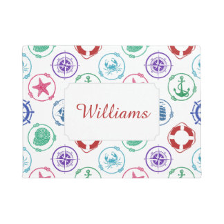 Colorful Nautical Pattern | Add Your Name Doormat