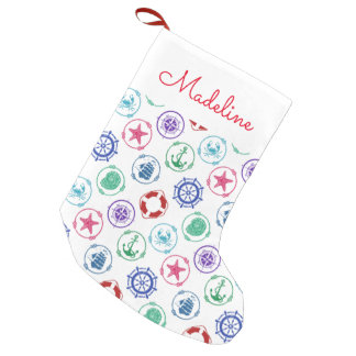 Colorful Nautical Pattern | Add Your Name Small Christmas Stocking