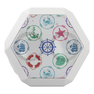 Colorful Nautical Pattern White Bluetooth Speaker