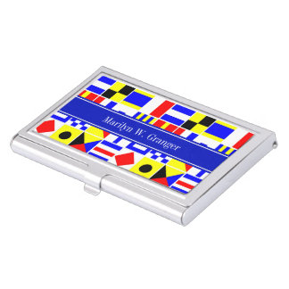 Colorful Nautical Signal Flags Royal Name Monogram Business Card Holder