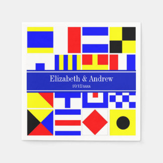 Colorful Nautical Signal Flags Royal Name Monogram Disposable Serviettes