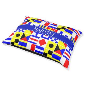 Colorful Nautical Signal Flags Royal Name Monogram Pet Bed