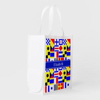 Colorful Nautical Signal Flags Royal Name Monogram Reusable Grocery Bag