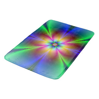 Colorful Neon Daisy Bath Mat
