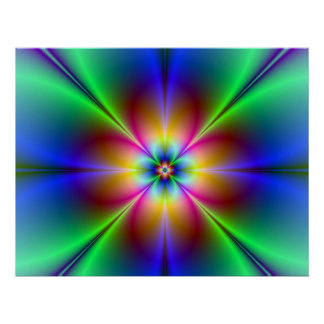 Colorful Neon Daisy Poster