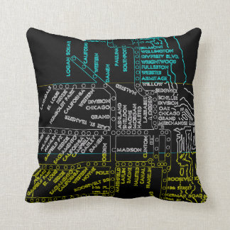 COLORFUL NEON LOOK CHICAGO SUBWAY TRAIN MAP VINTAG CUSHION