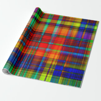 Colorful neon plaid print wrapping paper