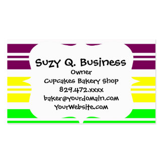 Colorful Neon Rainbow Stripes Vibrant Bold Pattern Double-Sided Standard Business Cards (Pack Of 100)
