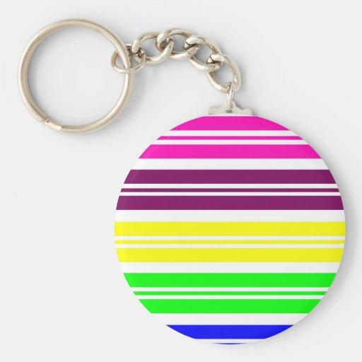 Colorful Neon Rainbow Stripes Vibrant Bold Pattern Keychain