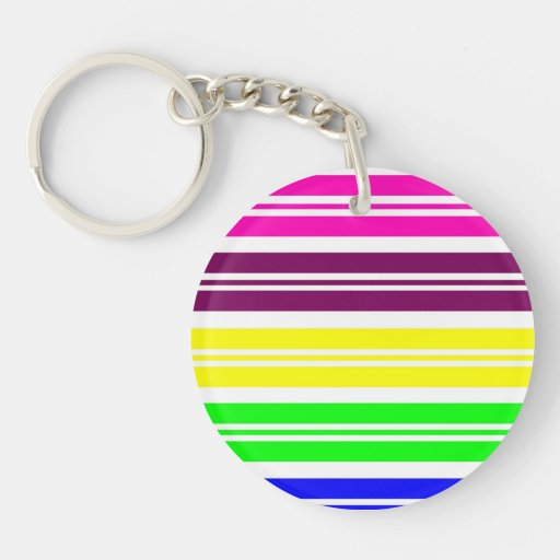 Colorful Neon Rainbow Stripes Vibrant Bold Pattern Acrylic Key Chain