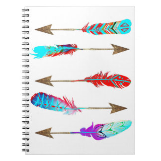 Colorful Neon Rustic Bohemian Feather Arrows Notebook
