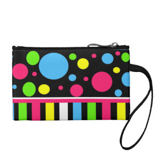 Colorful Neon Stripes Polka Dots Pink Blue Green Coin Purses