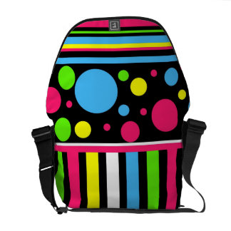 Colorful Neon Stripes Polka Dots Pink Blue Green Commuter Bag