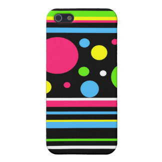 Colorful Neon Stripes Polka Dots Pink Teal Lime iPhone 5 Case