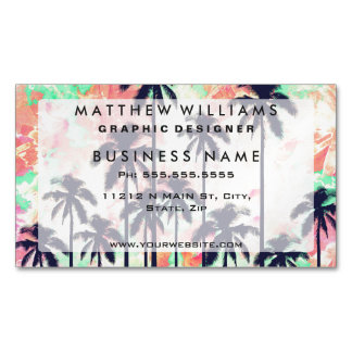 Colorful Neon Watercolor with Black Palm Trees Magnetic Business Cards