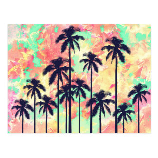 Colorful Neon Watercolor with Black Palm Trees Postcard