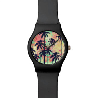 Colorful Neon Watercolor with Black Palm Trees Watch