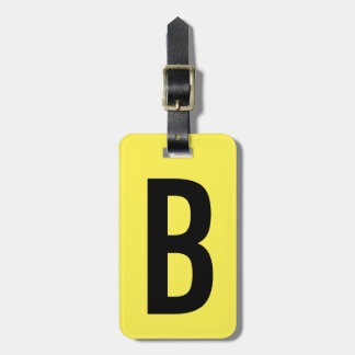 Colorful neon yellow monogram travel luggage tag